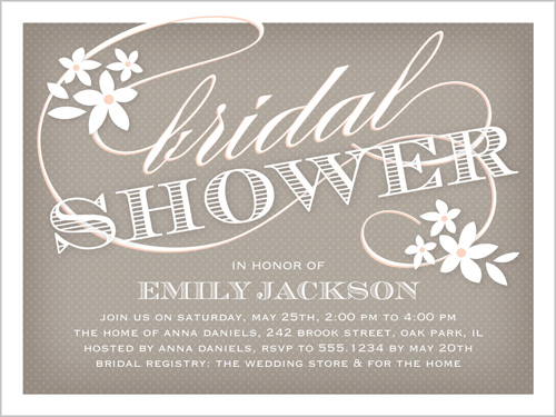 Flower Flourish 4x5 Bridal Shower Invitations Shutterfly