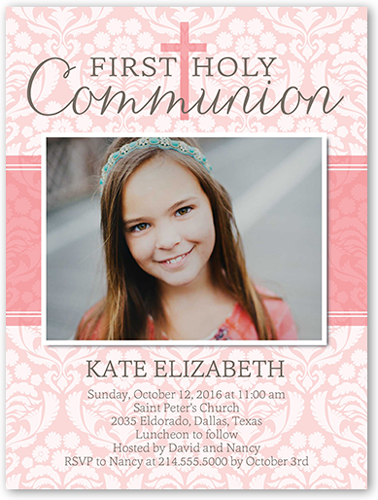 Patterned Communion Girl Communion Invitation, Square