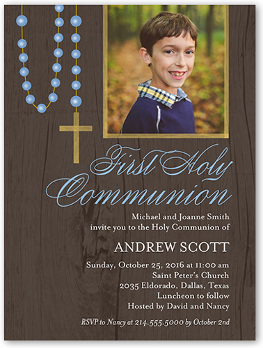 Lovely Rosary Boy Communion Invitation, Square