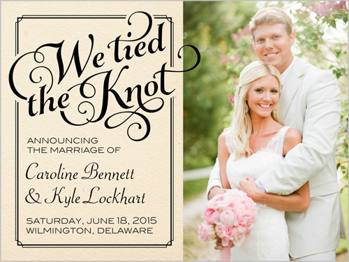 Classy frame 4x5 wedding announcements shutterfly for Wedding announcement ideas for newspaper
