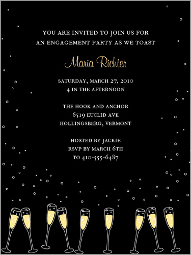 Gleaming Glasses Black Engagement Party Invitation by Yours Truly