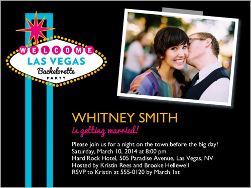Welcome To Vegas 4x5 Card – Vegas Bachelorette Party Invitations