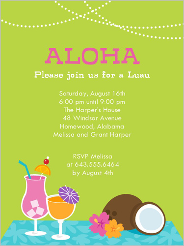 Coconut Luau  Summer Invitation