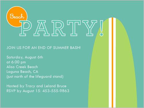 Dude Beach Party 4x5 Invitation Card Party Invitations Shutterfly