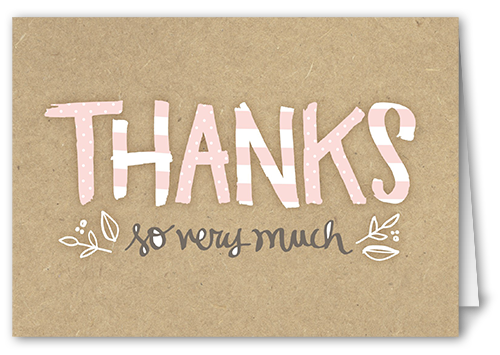 Pattern Shower Girl Thank You Card