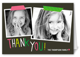 taped thanks girl thank you card 3x5 folded