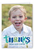 special thanks boy thank you card 3x5 folded