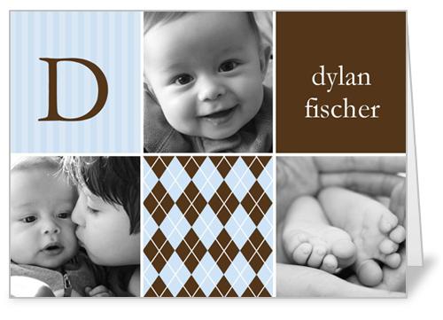 Hopscotch Time Blue Birth Announcement