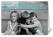 Vintage Wishes Teal Birthday Card