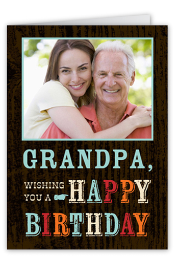 Retro Woodgrain Birthday Card
