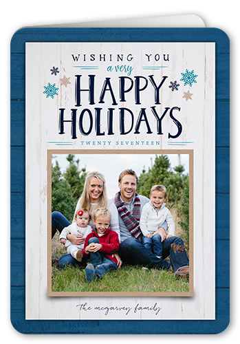Wishing You Wood Border Holiday Card, Rounded Corners
