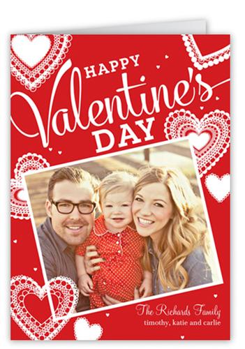 Hearts In Lace Valentine's Card, Square Corners