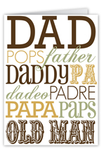 dad in type fathers day card