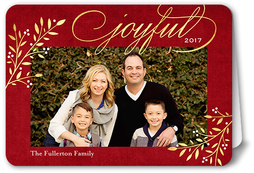 Elegant Joyful Foliage Christmas Card, Rounded Corners