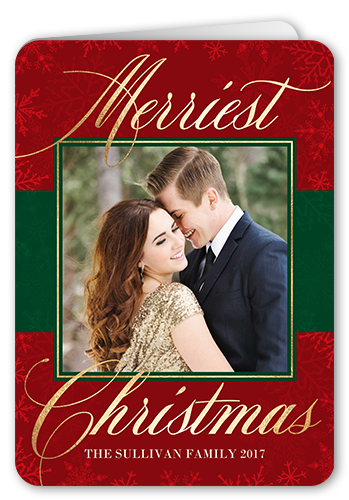 Family Overlay Flurries Christmas Card, Rounded Corners