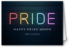 neon rainbow pride month greeting card