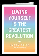 rainbow revolution pride month greeting card