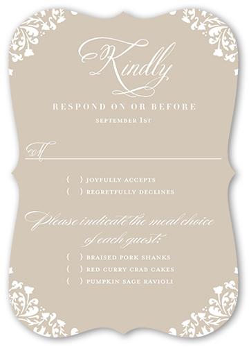Framed Beauty Wedding Response Card, Bracket Corners