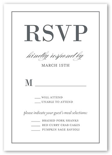 Divine Elegance Wedding Response Card, Square Corners