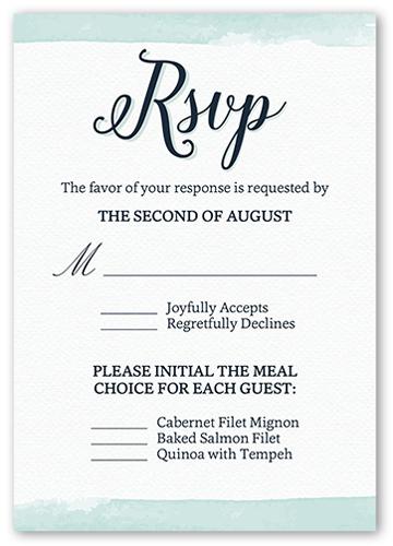 Classic Watercolor Border Wedding Response Card, Square