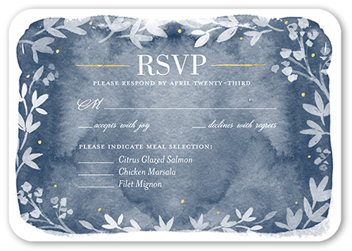 Watercolor Wonderment Wedding Response Card, Rounded Corners