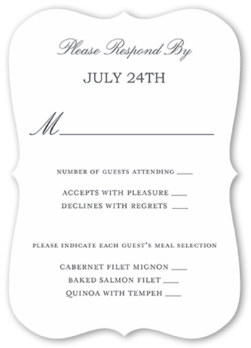 Wedding Dinner Selection Cards