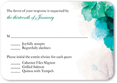 soft bougainvillea wedding response card