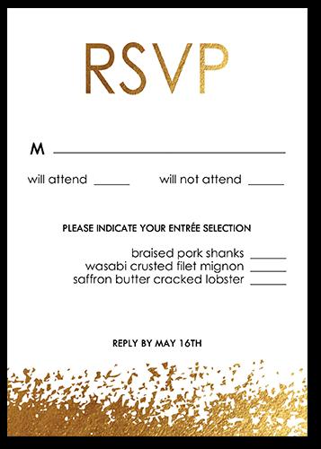 Golden Flair Wedding Response Card, Square Corners