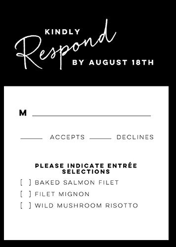 Modern Writings Wedding Response Card, Square Corners