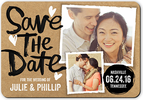 Perfectly Painted Date Save The Date, Rounded Corners