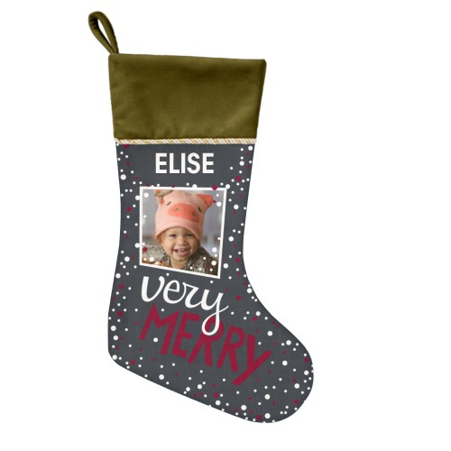 Very Merry Christmas Stocking, Moss Green, Gray