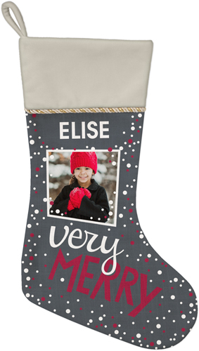 Very Merry Christmas Stocking, Natural, Gray