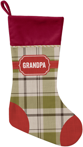 Classic Badge Name Christmas Stocking, Cranberry, Multicolor