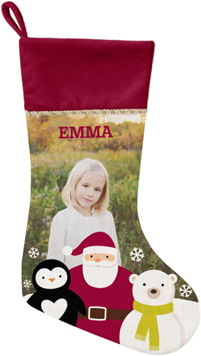 Santa and Friends Christmas Stocking, Cranberry, Beige