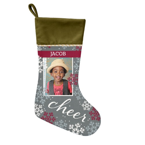 Snowflake Cheer Christmas Stocking, Moss Green, Gray