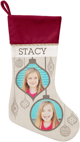 Stylish Ornaments Christmas Stocking, Cranberry, Beige