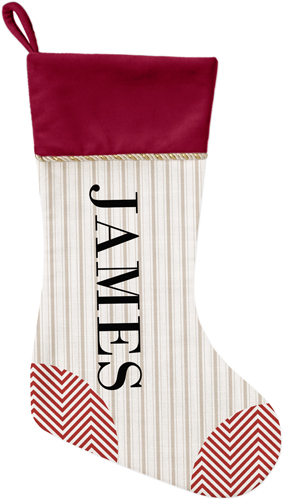Stripes and Chevrons Christmas Stocking, Cranberry, Beige