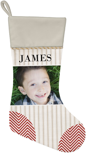 Photo Stripes and Chevrons Christmas Stocking, Natural, Beige