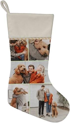 Gallery of Five Christmas Stocking, Natural, Green