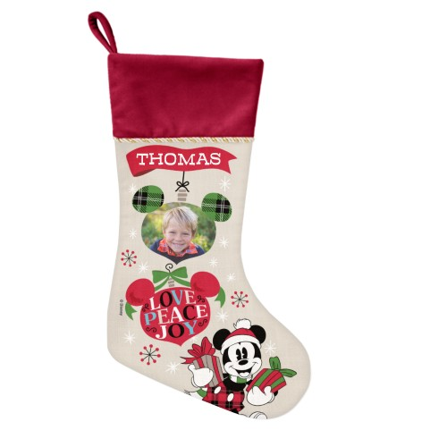 Disney Mickey Mouse Christmas Stocking, Cranberry, Beige