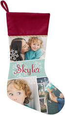 snowflake collage christmas stocking