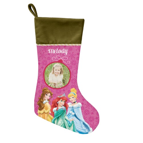 Disney Princesses Christmas Stocking, Moss Green, Pink