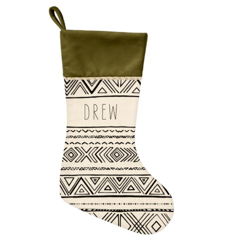 Chinle Christmas Stocking, Moss Green, Beige