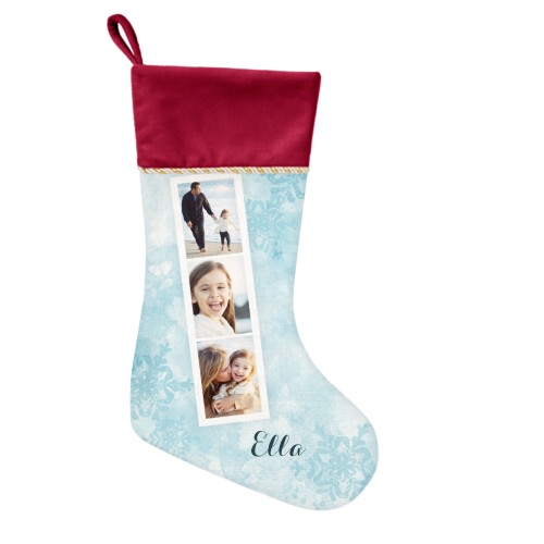 Snowflake Filmstrip Christmas Stocking, Cranberry, Blue