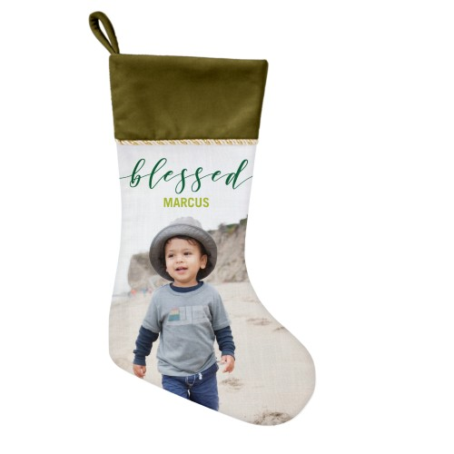 Blessed Script Christmas Stocking, Moss Green, Green