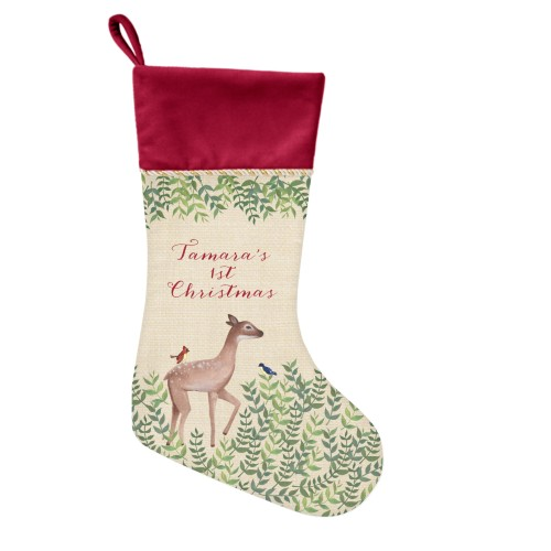 Whimsy Deer Christmas Stocking, Cranberry, Beige