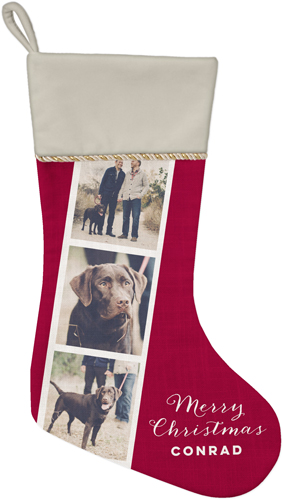 Gallery of Three Filmstrip Christmas Stocking, Natural, Multicolor