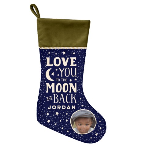 Starry To The Moon and Back Christmas Stocking, Moss Green, Blue