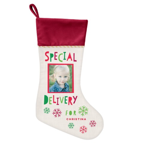 Special Delivery Christmas Stocking, Cranberry, Beige