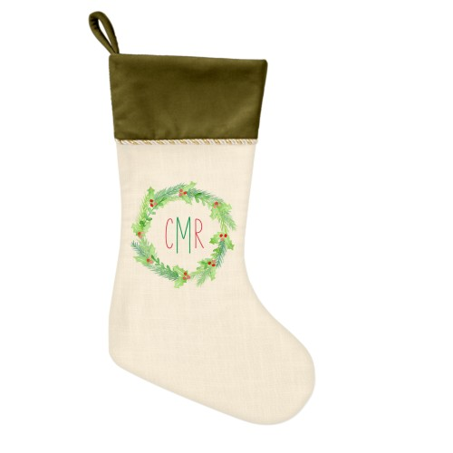Monogram Foliage Christmas Stocking, Moss Green, Beige